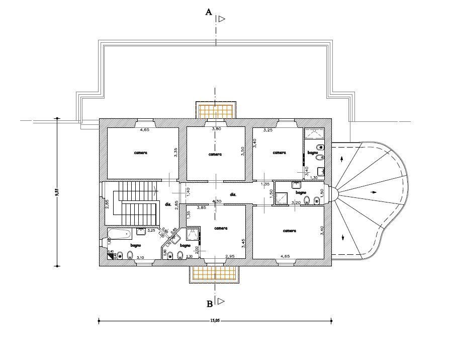 Planimetria di villa toscana mondello villa mondello for Planimetrie seminterrato
